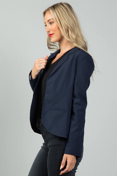 Ladies Fashion Navy Open Front Blazer