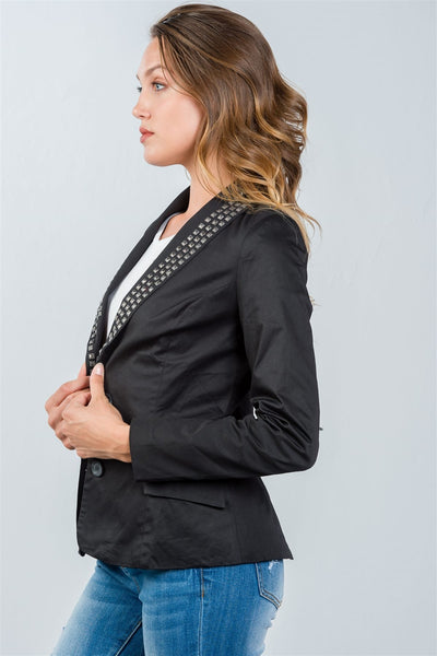 Ladies Fashion Black Studded Double-Button Blazer