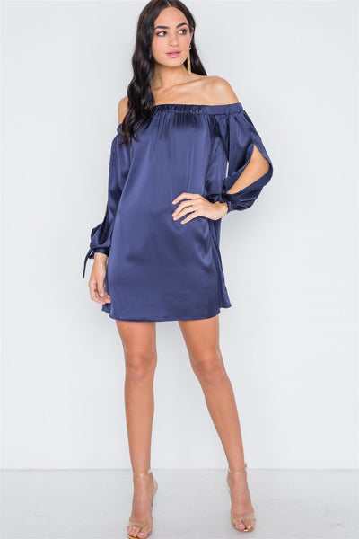 Navy Blue Satin Open Sleeve Satin Mini Dress