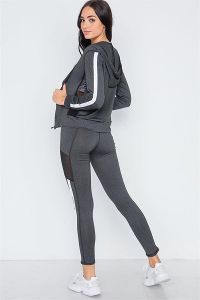 Grey Black Mesh Active Two Piece Legging Jacket Set