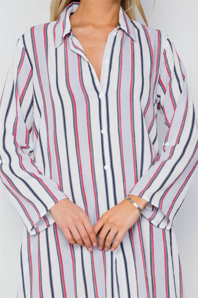 Blue Multi Stripe Button Down Maxi Blouse Shirt