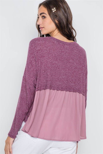 Berry Long Sleeve Knit Button-front Combo Cardigan