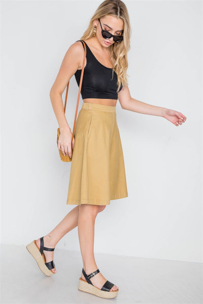 Khaki High Waist Solid A-line Midi Skirt