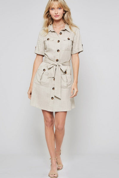 Camila - Button Down Waist Tie Shirt Dress