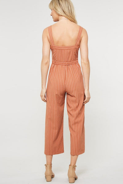 Chloe - Sleeveless Striped Crop Leg Romper