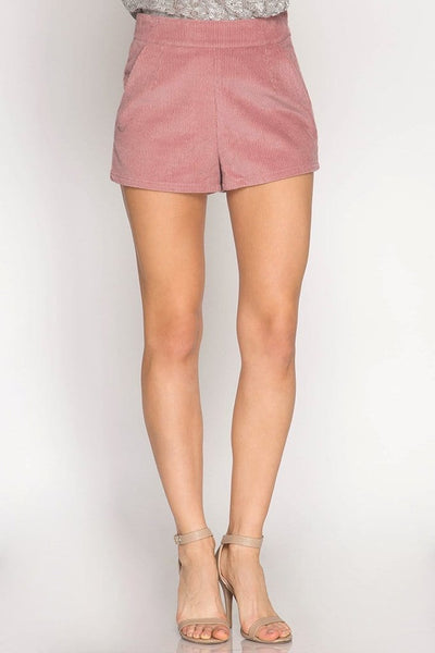 Claire - High Waist Corduroy Shorts