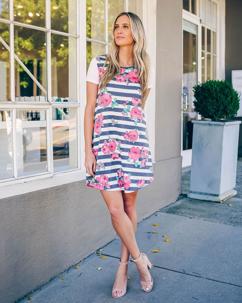Floral Print Striped Casual Dress