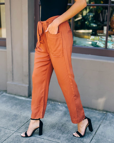 Avery - Woven Wide Leg Waist Tie Pants