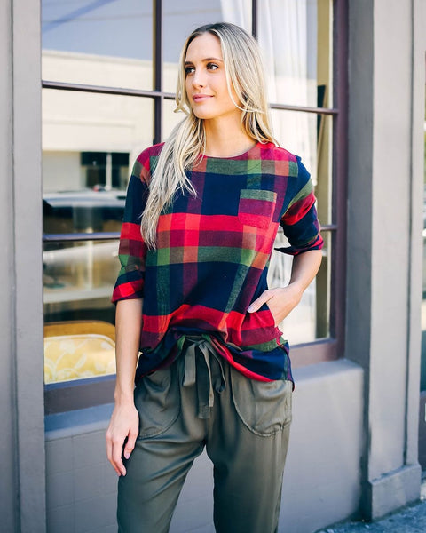 Round Neck Vintage Plaid Long Sleeve Shirt