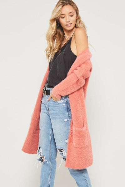 Evelyn - Fuzzy Knit Cardigan with Pockets