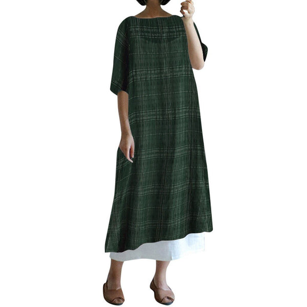 Short Sleeve Round Neck Plaid Dress