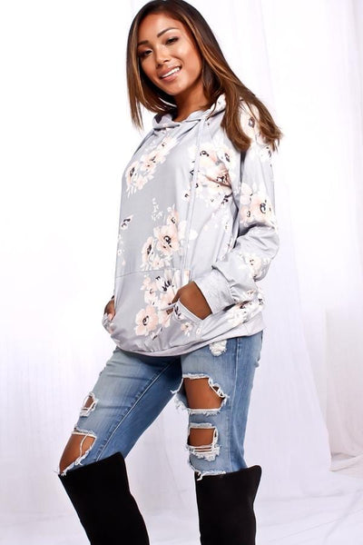 Mila - Floral Hooded Pouch Pocket Sweater