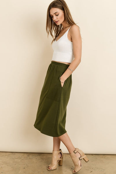 Nora - Elastic Waist Skirt with Pockets