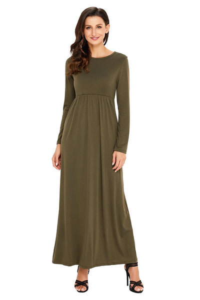 Olive Long Sleeve Pocket High Waist Maxi Jersey