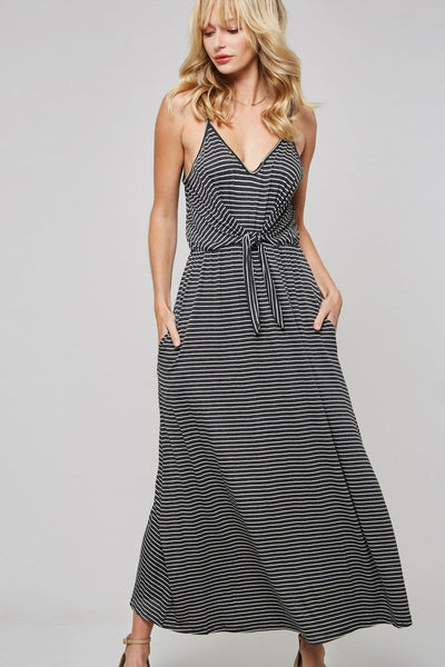 Riley - Plunging Neckline Waist Tie Striped Maxi Dress