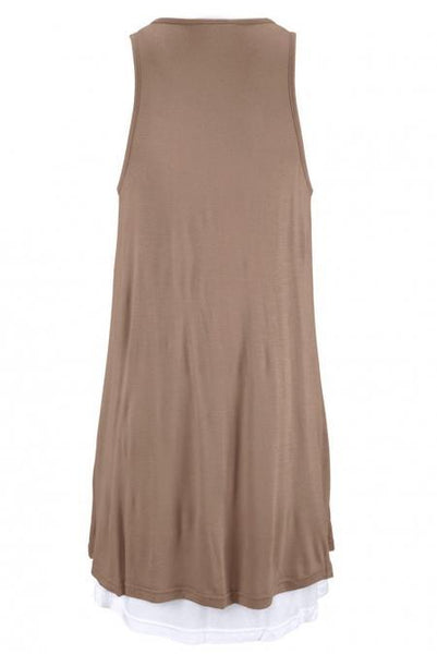 Taupe Lace-Up Pockets Sleeveless Jersey Dress