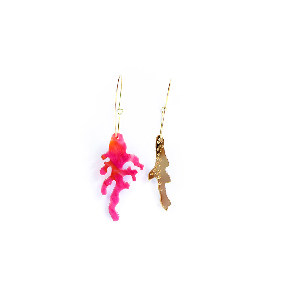 broken coral hoop | midi | pink orange