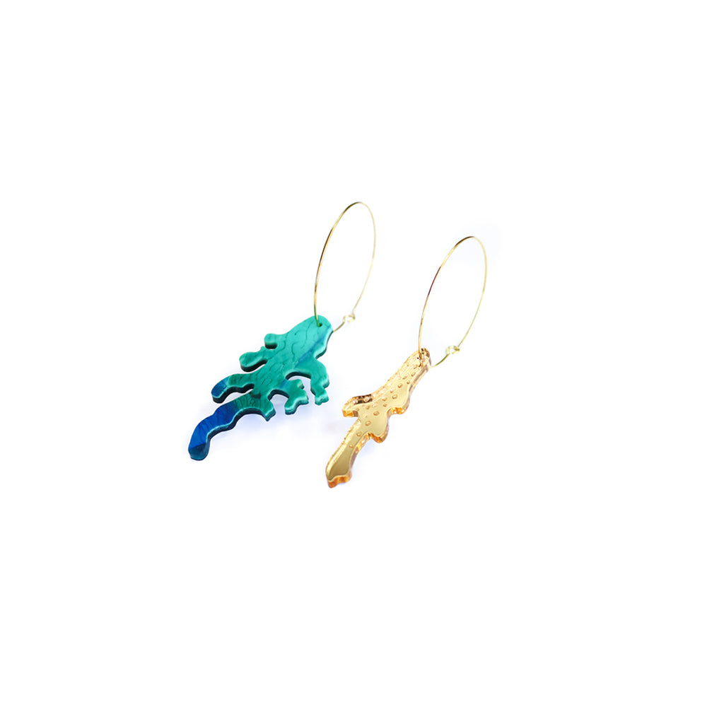 broken coral hoop | midi | blue green