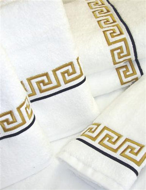 Greek Key embroidered bath towels