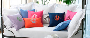 Applique pillows by Matouk