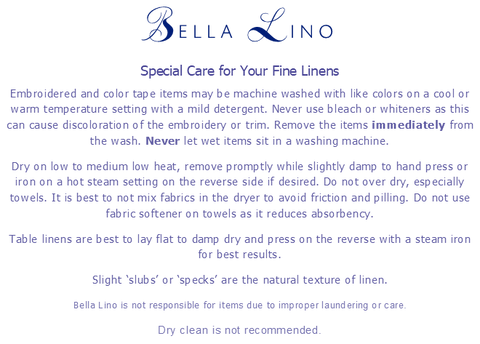 Bella Lino Linens-Caring for your fine linens