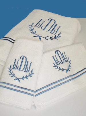 2 Line Embroidered Bath Towel Sets with Swiss Monogram