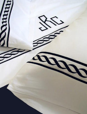 Pacific Custom Embroidered Chain Bed Linens-Sheets-Shams-Duvet Covers