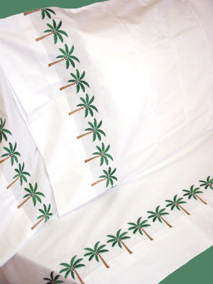 Palm Trees Embroidered Sheet Sets & Duvet Covers