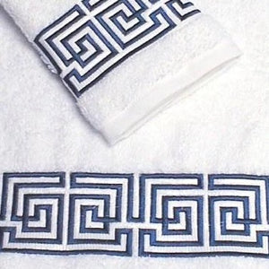 Maze Greek Key Luxury Embroidered Bath Towel Sets