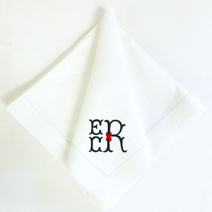 Sale- White Hemstitch Napkins - Weston Monogram- Set of 8