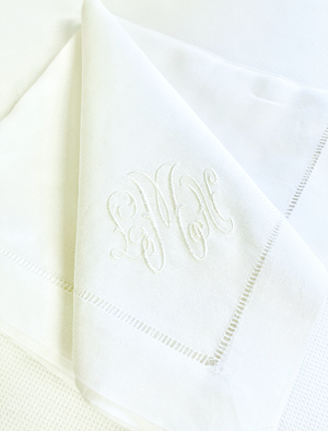 Sale- White Hemstitch Linen Napkin with Gwyn Monogram- Set of 12