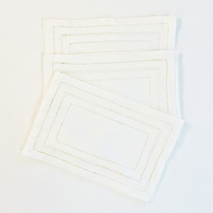 Sale- White Galouchi  Hemstitch Linen Cocktail Napkin Set of 12
