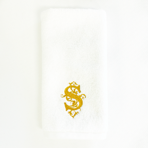 Sale- White Monaco Terry Guest Towels with Venezia Monogram