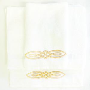 Sale- White Guest Towels-Scroll Design