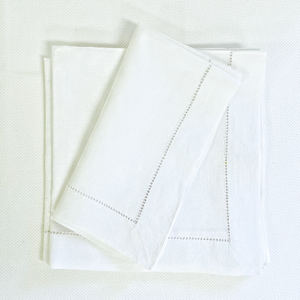 Sale- White Italian Hemstitch Linen Napkins- Set of 4