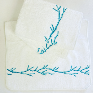 Sale- Pair of Turquoise Hand Towels-Coral Reef Design