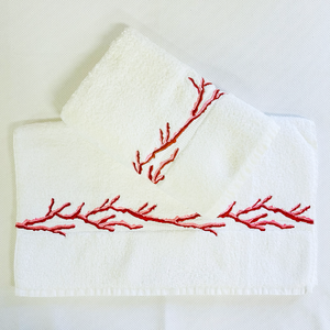 Sale- Coral Embroidered Hand Towels