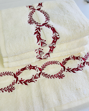 Sale- Pair of Boca Embroidered Hand Towels