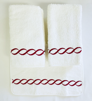 Sale-Pair of Chain Embroidered Guest Towels