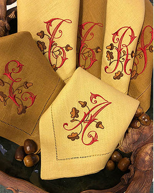 Acorn Monogrammed Colour Linen Napkins-Placemats-Cocktail Napkins