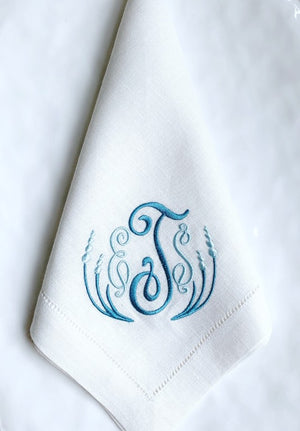 Amelia Monogrammed Linen Napkins-Cocktail Napkins-Placemats-Table Linens