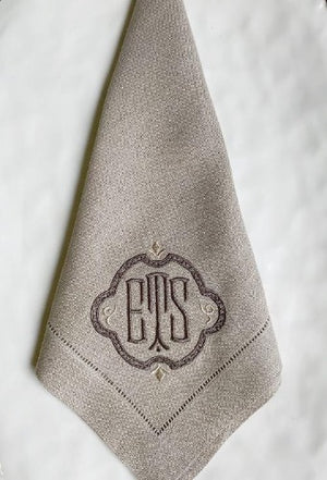 Festival Monogrammed Linen Napkins-Placemats-Cocktail Napkins - 75 Linen Colors
