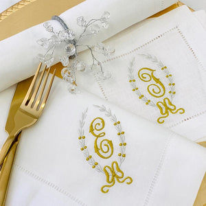 Claire Holiday Monogrammed Linen Napkin