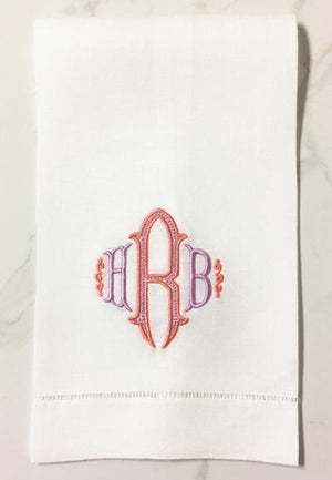 Danielle monogrammed linen guest towel in two colors.