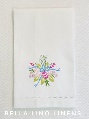 Easter Egg Bouquet Pique Linen Guest Towel