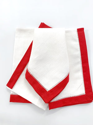 Sferra Filetto Red Border Linen Hemstitch Napkins