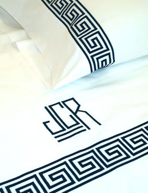 Greek Keyline Embroidered Bed Linens-Sheets-Duvet Covers
