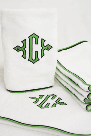 Applique Monogrammed Roma Bath Towels with Color Piped Edge Trim