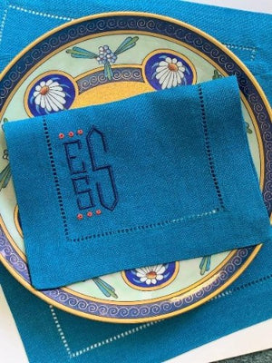 James Monogrammed Linen Cocktail napkins