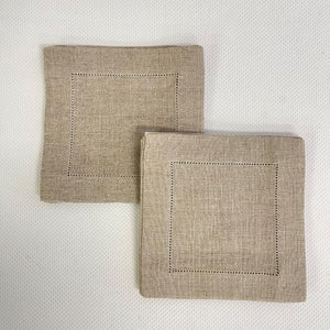 Sale- Natural Hemstitch Fine Linen Cocktail Napkin Set of 6